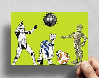 Star Wars Party - The Last Jedi - BB8 R2D2 Stormtrooper C3P0 - Droid - All occasion  Handmade - Birthday - Greeting card - Celebration