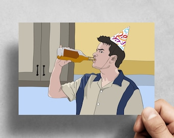 Charlie Sheen - Two & a half men - Drinking Party - Winning - Funny Greeting card - Birthday - Handmade card - Pop culture - Novelty - Funny