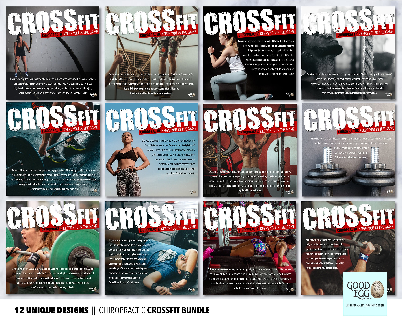 Chiropractic & CrossFit || Customizable || 12 Image Social Media Bundle ||  Facebook, Google My Business, Instagram, Blog Post