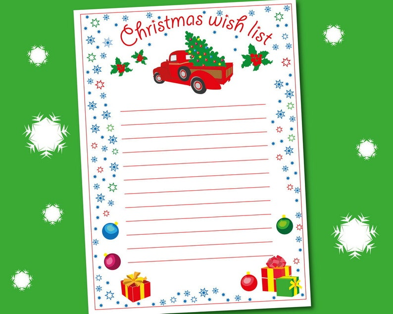 Christmas List Template.Christmas Wish List Wish List Template Christmas Wish List Printable Children Wish List Christmas List For Kids Instant Download