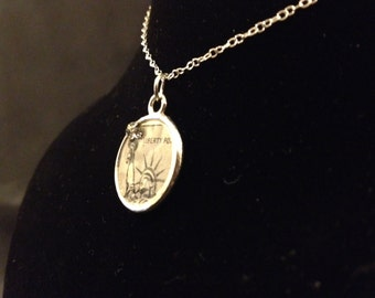 """Vintage Liberty Stamp Pendant - Gifts under 35 - Gifts for Stamp Collectors - Stamp Necklace - Sterling Silver 18"""" Chain - Gifts for Her"""