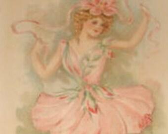 SALE Vintage Floral/Fantasy Postcard