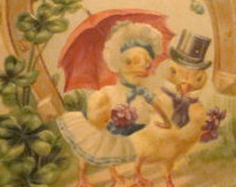Cute Chicks In Clothes Vintage Easter Postcard #3