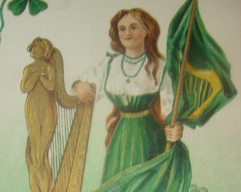 Highly Embossed Vintage/Antique St. Patrick's Day Postcard (Pretty Lady)