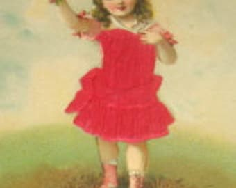 LAST CHANCE SALE Vintage Embossed Silk Postcard (Little Girl)