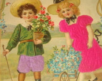 LAST CHANCE SALE Vintage Silk Postcard (Children)