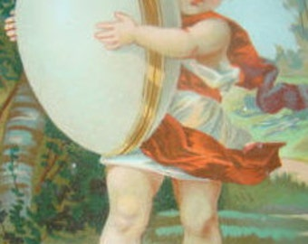 LAST CHANCE SALE Victorian Scrap (Child with an Egg) # 1