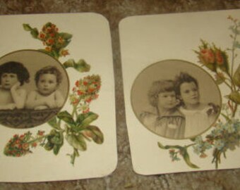 LAST CHANCE SALE 2 pieces of Victorian Scrap (Children and Flowers)