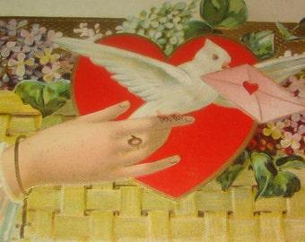 Vintage/Antique Embossed Valentine Postcard #3 (Hand,Dove,Hand)