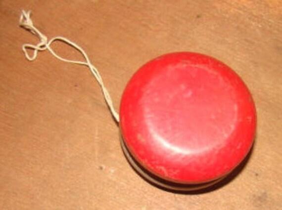 VENTE soigné Vintage en bois gris et rouge Yo-Yo