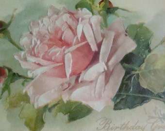 Vintage/Antique Embossed Floral Postcard (Pink Rose)