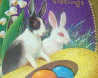 LAST CHANCE SALE Vintage Easter Postcard (Rabbits)