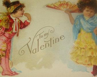 Cute Vintage Antique Valentine Postcard Mexican Children