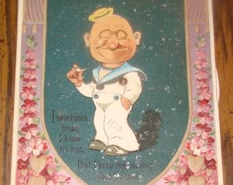 Cute Vintage Valentine Nechanical Sailor Postcard (Different Faces)
