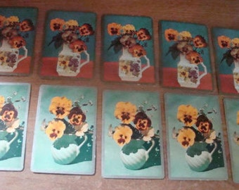 10 Vintage Playing Cards (Pansies In Vases)