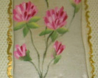 LAST CHANCE SALE Vintage Hand Painted Floral Silk Postcard