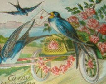 LAST CHANCE SALE Lovely Vintage Embossed Swallow Postcard