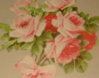 LAST CHANCE SALE Pretty Vintage Postcard (Pink Roses)