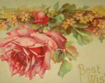 Pretty Vintage Floral Postcard (Pink Rose)
