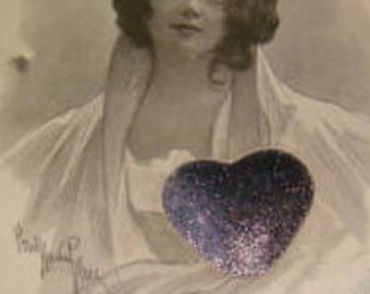 LAST CHANCE SALE Vintage Pretty Lady Postcard (Silver Heart)