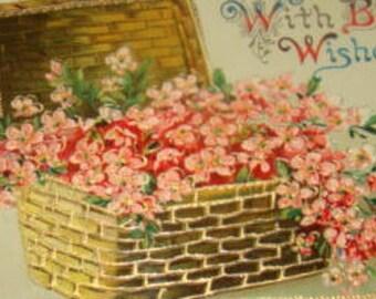 SALE Lovely Vintage postcard (Pink Flowers in a Basket)