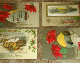 LAST CHANCE SALE 4 Vintage Christmas Postcards