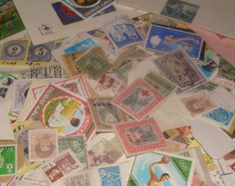 SALE 100 Vintage Postage Stamps 50's 60's and 70's