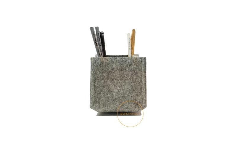 Pen Holder for Desk 100% Merino Wool 10x10cm Pencil Cup image 0