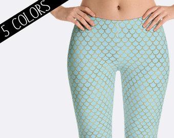 Mermaid Leggings, Scale Leggings, Fantasy Leggings, Ladies Leggings, Print Leggings, Yoga Pants, Womens Leggings, Mermaid Costume