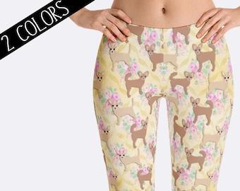 Chihuahua Leggings, Floral Leggings, Dog Leggings, Chihuahua Clothing, Ladies Leggings, Print Leggings, Yoga Pants, Womens Leggings