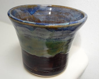 Small Ceramic Wide Rim Vase Brown Green Blue Grey stripe