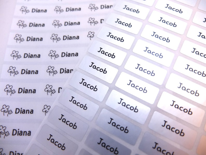 Waterproof Name Sticker Small Size 156 Stickers Clear WhiteVivid Silver Hologram Mixed Color Pearl Metallic