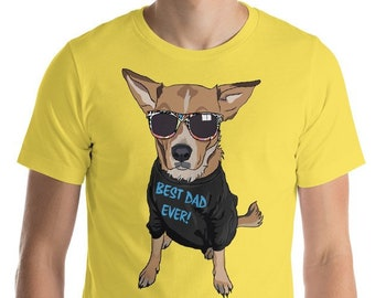 9d948029 Best Dad Ever Shirt Funny Dog Shirt Dog Fathers Day Gift Best Dog Dad Men's Shirt  Dogs with Glasses Dog Lover Red Heeler Dog Tee
