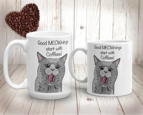 Guten Morgen Katze Becher Lustige Russisch Blau Katze Zitat Tasse Geschenk Für Kinder Mama Papa Crazy Cat Lady Individuelle Personalisierte