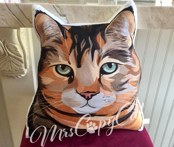 Orange Tabby Cat Plush Pillow Cat Shaped Throw Pillow Cat Etsy