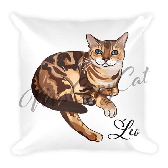 Poduszka Cat Bengal Prezent Kochanka Kota Poduszki Nazwa Kota Prezent Dla Miłośnika Bengalski Kot Cute Cat Rzeczy Dzieci Rzucać Poduszki Kot