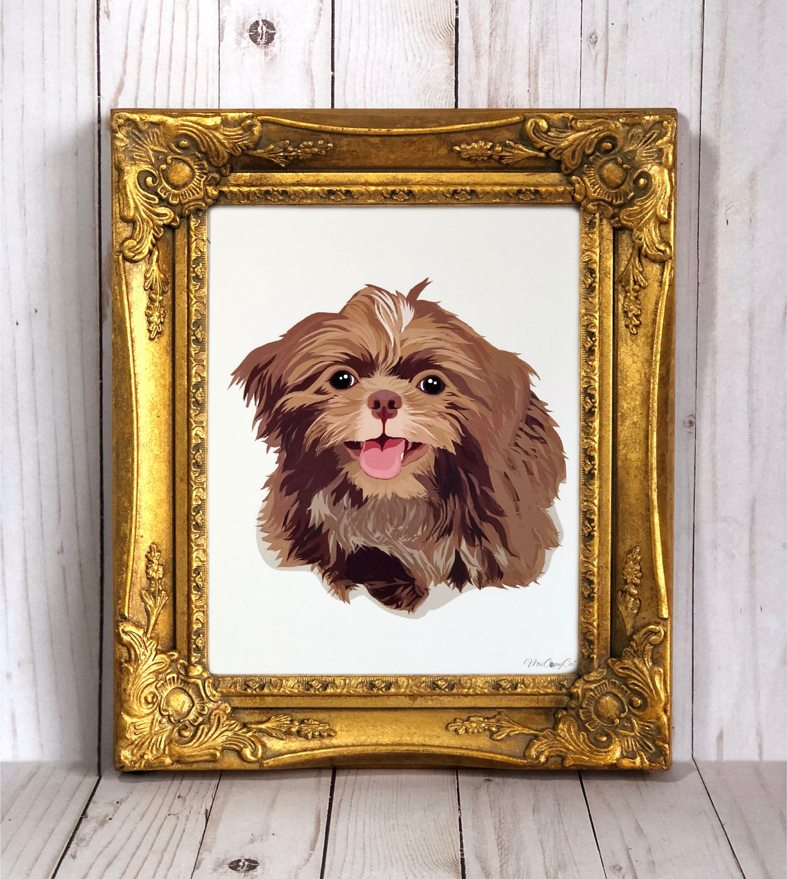 Golden Retriever When It's Too Hard To Look Back Satin Portrait Poster