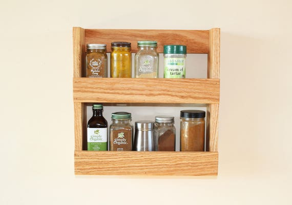 Hardwood Spice Rack/Kitchen Spice Shelf/Spice Organizer/Herbs and Spice  Display/Kitchen Organizer/Kitchen Shelves/Natural Wood Finish