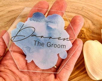 Personalised Watercolour Splash Printed Hexagon Table Place Names, Wedding Table Place Names, Acrylic Table Place Names, Modern Wedding Name