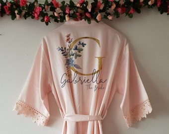 a4d5d2674e Bridesmaid Lace Satin Style Personalised Robe