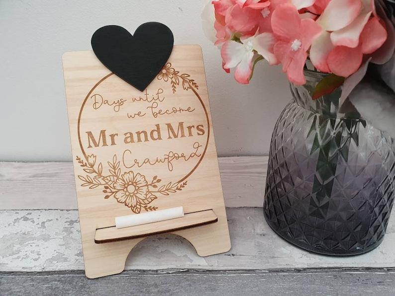 Gegraveerde Krijtbord Countdown Plaque Wedding Countdown image 0