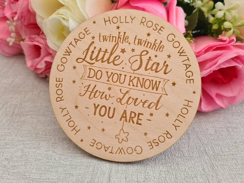 Twinkle Little Star Baby Plaque Memory Baby Sign Rainbow Baby Plaque Newborn Baby Plaque Engraved Gift Baby Sign