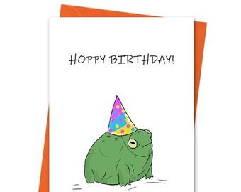 Frog Hoppy Birthday!, Funny Birthday Card, Joke Birthday Card, Cheeky Birthday, Boyfriend Birthday, Wife Birthday, Husband Card