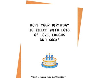 Funny Birthday Card ,Hope Your Birthday Is Filled With Cock Card, Naughty Card, Rude Birthday Card, Girlfriend Birthday, Wife Birthday