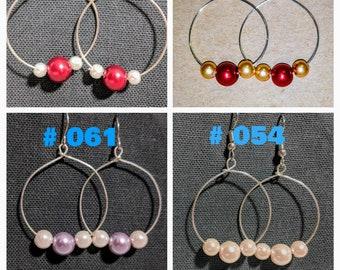 Dangle Hoop Earrings with 3 Pearls / Fishhook Ear-wire / Glass Pearl / Dangle Earrings /Red-Gold/Red-White/Pink/Pink-Purple/Nickel Free