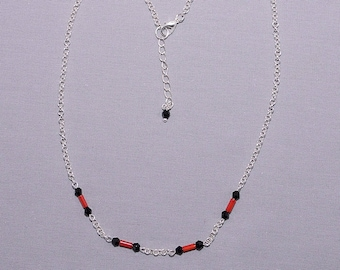 Necklace coral tube beads and black beads
