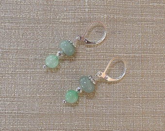 Green aventurine and silver Pearl Earrings