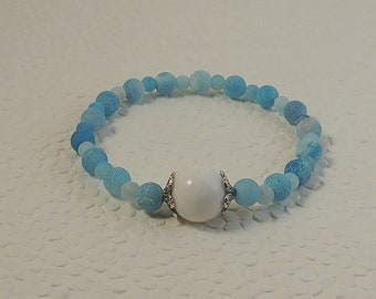 Lagoon blue and white agate Beads Bracelet
