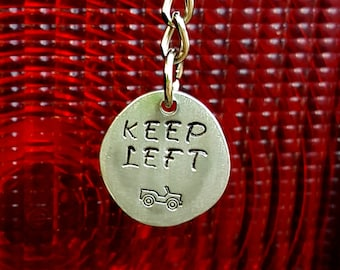 "Handmade ""KEEP LEFT"" pendant with Jeep stamp made on St. John, USVI (necklace or keychain)"