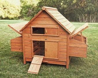 "Chicken Coop Rambler style Holds 10 Chickens Douglas Fir w/ Nest 64""x 38""x 45"""